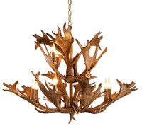 Rétro Antler Lustre Creative Résine Plafond Suspension Lumière Nouveau Fixture Pour Duplex Bâtiment Salon Éclairage À La Maison LLFA