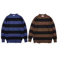 Мужские трикотажные свитера цвета Matching моды Отверстие Сыпучие Толстые Stripes пуловер Длинные рукава Повседневная зима Atutumn S-XL