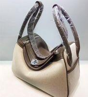 26CM 30cm Canvas Genuine leather bags Two- tone Fashion Desig...