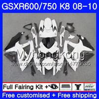 Carrozzeria per SUZUKI GSX-R600 GSXR 750 600 600CC GSXR600 08 09 10 297HM.30 GSX R600 R750 GSX-R750 K8 GSXR750 carenatura bianca 2008 2009 Carenatura 2010
