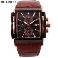 BOAMIGO мужчин кварцевые часы большой циферблат моды случайные спортивные часы из розового золота под наборы часы коричневый кожаный мужской наручные часы LY191226