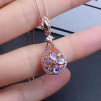 مجوهرات سليكات الألمنيوم قلادة الطبيعية ريال سليكات الألمنيوم قلادة الصلبة S925 فضة للنساء اللون جوهرة ستون الجميلة