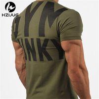 Verão New Mens Gyms T Shirt Crossfit Fitness Bodybuilding Letter Impresso Masculino Curto Algodão Roupas Tee Tops 5 Cor