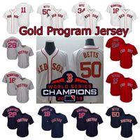 50 Mookie Betts 2018 Champions Gold-Programm Jersey Jackie Bradley Jr. Jose Peraza Benintendi J. D. Martinez Chris Verkauf Xander Bogaerts