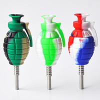 Grenade Kit de colector de néctar de silicona con tubo de agua bong de silicona con plataforma de titanio gr2 de 14 mm