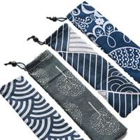 Bolsa de almacenamiento de vajilla portátil de estilo japonés Bolsa de cubiertos con cordón de viaje Estuche portátil para cuchara de paja Tenedor Cuchillo YD0293