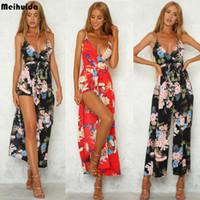Partido de Fasion de las mujeres de Clubwear del verano floral Playsuit mono Dividir pantalones largos