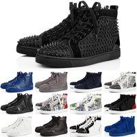 2020 Christian Louboutin Tasarımcı Sneakers Kırmızı Alt ayakkabı Düşük Kesim Çivili Spike Lüks Ayakkabı Erkekler ve Kadınlar Için Ayakkabı Parti Düğün kristal Deri Sneakers