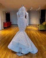 고급스러운 인어 2019 아프리카 두바이 웨딩 드레스 높은 목 페르시 크리스탈 신부 드레스 긴 소매 웨딩 드레스