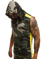 Sıcak Erkek Kolsuz Spor Kapüşonlular 3D Baskı Spor Yelek Erkek Pamuk Fermuar Kapüşonlular Erkekler Moda Giyim