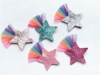 ins Boutique'nin 20pcs Moda Sevimli Glitter Yıldız Tokalar Katı Gökkuşağı Dantel Yıldız Saç Klipler Prenses Şapkalar Saç Aksesuarları