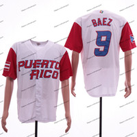 Homens Puerto Rico Equipe 2017 Mundial de Beisebol clássico 12 Francisco Lindor 1 Carlos Correa 9 Javier Baez 21 Roberto Clemente Baseball Jerseys