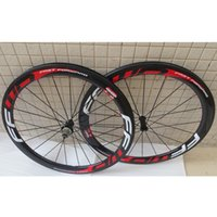 Carbon road bicycle wheels 50mm FFWD white red decals clinch...