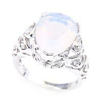 ラッキーシンイースタービッグ人気のあるスタイルムーンストーンオーバルティアドロップ形の銀製メッキの結婚指輪2オプションR0058 R0345