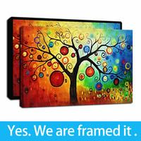 Pinturas al óleo del árbol de las ilustraciones capítulo Resumen rico colorido Impresión en pinturas de pared del arte cuadro de la lona del cartel para la decoración casera - listo para colgar