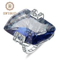 GEM DEL BALLET 21.20Ct Natura Iolite Blue Mystic piedra preciosa del cuarzo Cocktail anillos de plata de ley 925 joyería fina para la Mujer