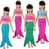 Sıcak kızlar mermaid mayo 3 Adet Kızlar Fantezi Kesim Denizkızı Kuyruğu Mayo Bikini Set Çocuklar Denizkızı Kuyruğu Bebek Kız Yüzme Mayo mayo