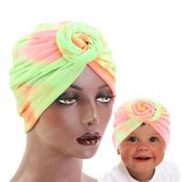 새로운 엄마와 큰 활 소프트 부모 - 자식 헤어 터번 모자 화학 요법 캡 아이들 화려한 터번 모자 캡