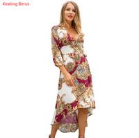 Keating Berus 2019 Новая Женская одежда весна семь точек рукав V-образным вырезом цветочный принт мода платье банкетное платье