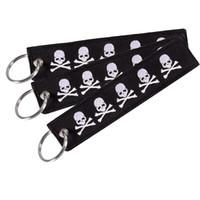 Chaîne de clé de crâne de mode Bijoux Porte-clés pour motos et voitures Scooters Tag Broderie Porte-clés Personnalisé Porte-clés