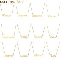 Handgemachte personalisierte alte englische Sternzeichen Halsketten Custom Gold Anfang Halskette Für Frauen Mädchen Schmuck Geburtstagsschmuck Geschenke