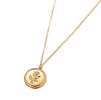 Vintage Gold Color Engraved Rose Flower Statement Necklace for Women Long Chain Round Pendant Coin Necklace Collier