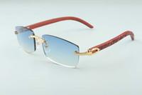 뜨거운 프레임이없는 선글라스 안경 유니섹스 선글라스 3524012 격자 나무 남성과 여성 선글라스 안경 안경 : 56-18-135mm