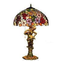 Lampada da tavolo Apparecchio Mediterraneo Stained Glass decorativo Uva Luce Per Soggiorno Camera da letto Arte Antica Base Tiffany Desk Lamp