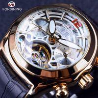 Forsining Leggenda Tourbillion serie 3D Glass Design Genuine Leather Mens Watch Top Brand di lusso orologio da polso automatico Orologio da uomo