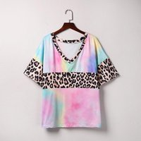 Aesthetic tops women 2020 Tie-Dye t shirt women Leopard tshirt Summer woman tshirts V Neck summer tops Patchwork camisetas