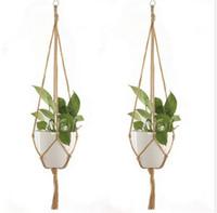 حبل القنب جديد مزين شماعات وعاء النبات الأخضر زهرة وعاء معلق حبل سلة اليد نسج