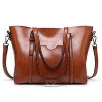 HBP Womens Borse Borse Borse in pelle Olio Pelle di grandi dimensioni Tote Bags Casual Donne Borsa a tracolla Brown