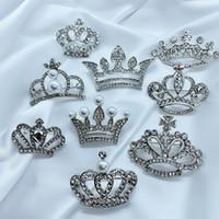 Multiestilo Mujeres Rhinestone Corona Broche Oro Plata Bling Bling Bling Corona Imperial Broche Traje de Solapa Pin Regalo para el amor