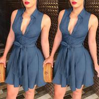 Женщины Lady Blue Jeans Denim T-Shirt рукавов Глубокий V шеи оборками бинты вскользь партия вечера короткое платье