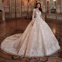 Vestido 드 Noiva 빈티지 레이스 페르시 신부 드레스 라이트 샴페인 긴 소매 웨딩 드레스 2,020 로브 드 Mariee Casamento