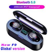 2000mAh Güç Bankası Müzik Spor Kulaklık ile Mikrofon ile TWS 5.0 Kulaklık F9 Kablosuz Kulaklık Mini Bluetooth V5.0 Kulaklık LED Ekran