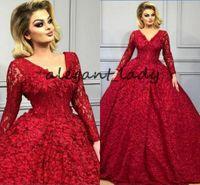 Koyu Kırmızı Uzun Kollu Akşam Parti Elbiseler 2019 Robes de Soi V Yaka Kelebek 3D Çiçek Beadwork Arapça Kaftan Abaya Durum Balo Elbise