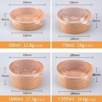 Insalata all'ingrosso della fabbrica di carta Kraft Bowl Cibo da asporto Contenitore 500ml 750ml 1000ml 1300ml con coperchio in PET PP