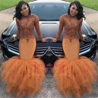 Cheap Dust Orange African Long Sleeves Mermaid Prom Dresses ...