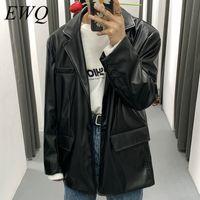 Men's Fur & Faux EWQ   Wear 2021 Spring Fashion PU Leather Jacket For Male Vintage Korean Style Blazer Casual Loose Oversize Coat 9Y982