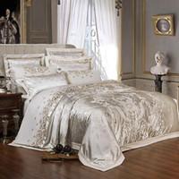 4 pcs sliver ouro luxo seda de seda jacquard edredom capa conjunto de cama rainha king size bordado cama conjunto de folha de cama