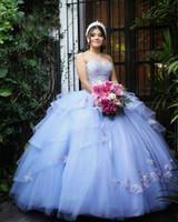 Simple Lavender Lace Beaded Quinceañera vestidos de baile vestido de bolas Tulle barato noche fiesta dulce 16 vestido ZJ111