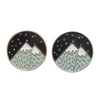 Night Sky Mountain Moon Star Émissions Épingles Sac à dos Chapeau Cuir Vestes Cuir Vestes Mode Accessoire Bijoux Épingles, Broches