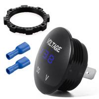 10pcs / lot DC12V-24V Bleu Etanche LED Numérique Affichage Voltmètre Socket pour Véhicule Moto Voiture Panneau Rond Tension Mètre Testeur