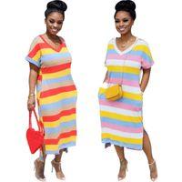 Femmes robes de robe décontractée à manches courtes une pièce femmes jupe robe ensemble robe de soirée de fête imprimé rayé mode nuit klw3390