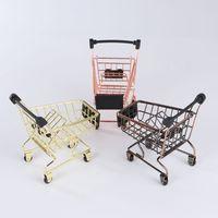 البرونز / الذهب / روز الذهب البسيطة سلة التسوق الإبداعية مصغرة سوبر ماركت عربة الحديد سلة تخزين معدنية للجدول مكتب