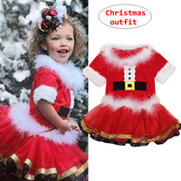 Toddler Girl Clothes Kids Christmas Outfit Camicia a maniche corte con pelliccia Red Skirt Boutique Outfit Panno invernale per feste