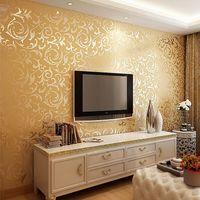Обои современные ретро золото и серебро ПВХ обои рулон для стен 3D Ресторан Кафе спальня фон настенное покрытие