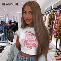 HEYounGIRL Drache Printed Weiß Damen-T-Shirts beiläufige grundlegende chinesische Art-T-Shirt Frauen Harajuku Short Sleeve T-Shirt Tops