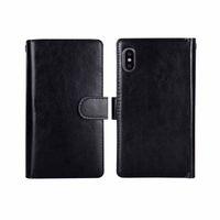 Luxus-Wallet-Fälle für iPhone XS Max PU-Ledertasche iPhone6 6s 7 8 Plus 2in1 magnetische abnehmbare Telefonbeutel 9 Kartenschlitze abdecken